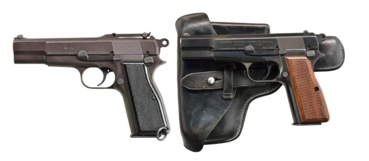 2 BROWNING PATENT HIGH POWER SEMI AUTO PISTOLS.
