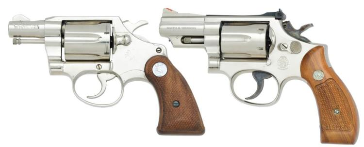 2 NICKEL PLATED REVOLVERS. COLT, SMITH & WESSON.