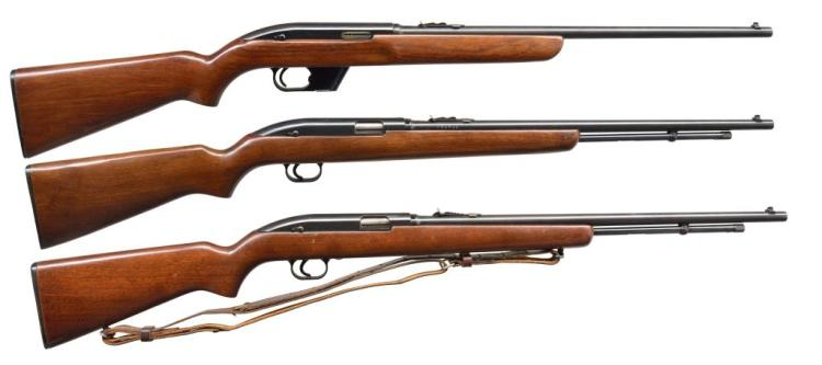 3 WINCHESTER MODEL 77 SEMI AUTO RIFLES.
