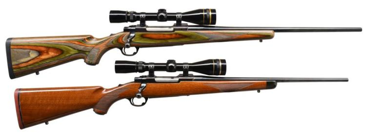 2 RUGER TANG SAFETY MODEL 77 BOLT ACTION RIFLES.