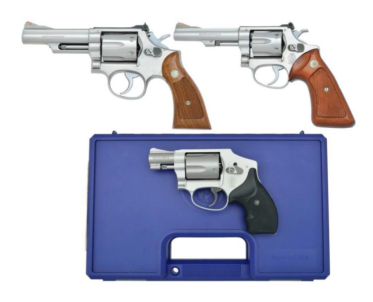 3 SMITH & WESSON REVOLVERS.
