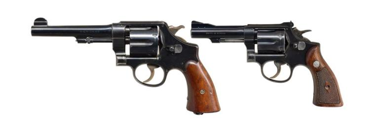 2 BLUED SMITH & WESSON REVOLVERS.