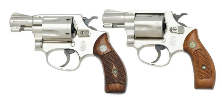 2 NICKEL J FRAME SMITH & WESSON REVOLVERS.