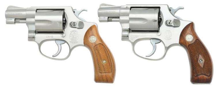 2 SMITH & WESSON MODEL 60 STAINLESS REVOLVERS.