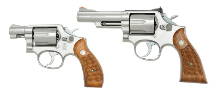 2 SMITH & WESSON STAINLESS K FRAME REVOLVERS.