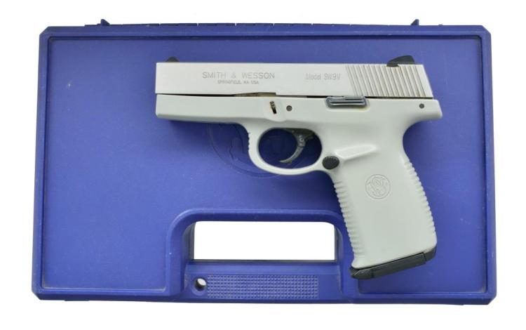 SMITH & WESSON MODEL SW9V SEMI AUTO PISTOL.