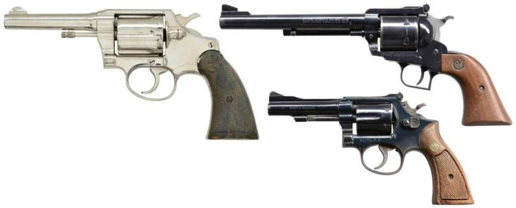 3 REVOLVERS. SMITH & WESSON, RUGER & COLT.