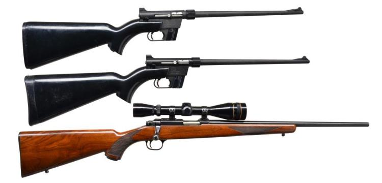 3 AMERICAN 22 LR RIFLES. 2 CHARTER ARMS & 1 RUGER.