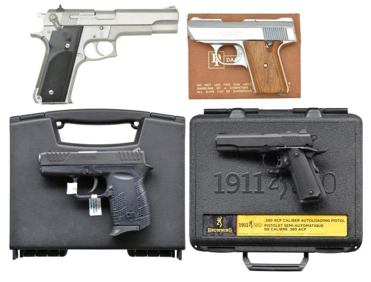4 PISTOLS BY SMITH & WESSON, BROWNING, DIAMONDBACK
