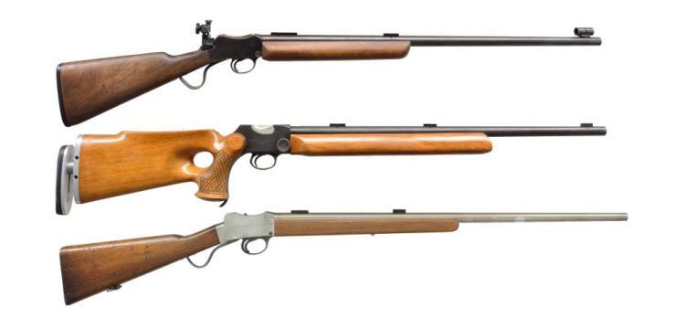 3 BSA MARTINI SINGLE SHOT RIFLES.