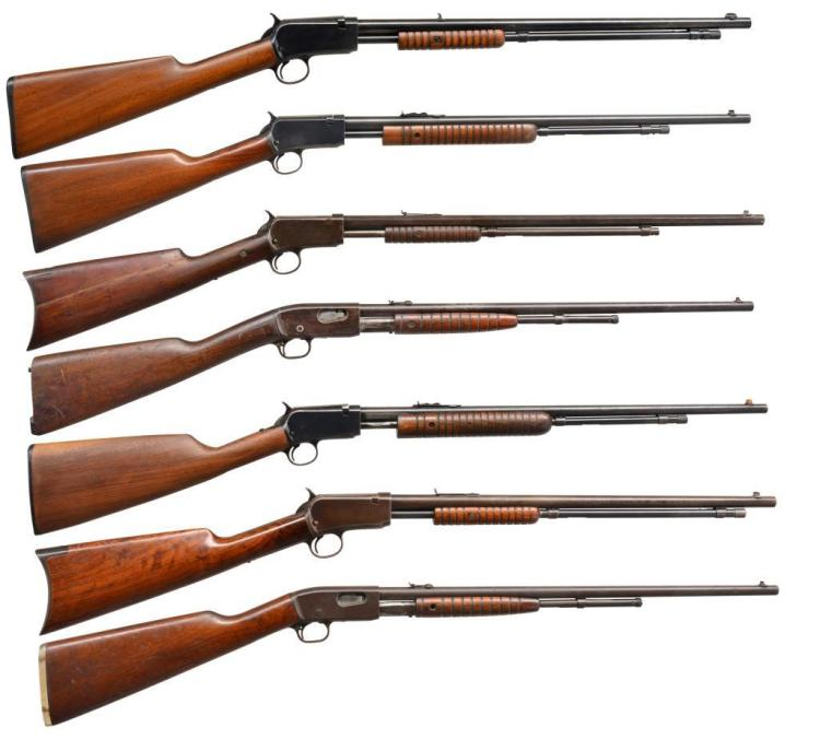 5 WINCHESTER & 2 REMINGTON PUMP ACTION TAKEDOWN