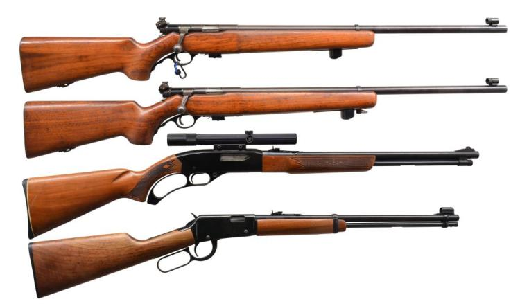 4 CAL. 22 RIFLES. MOSSBERGS, WINCHESTER & ITHACA.