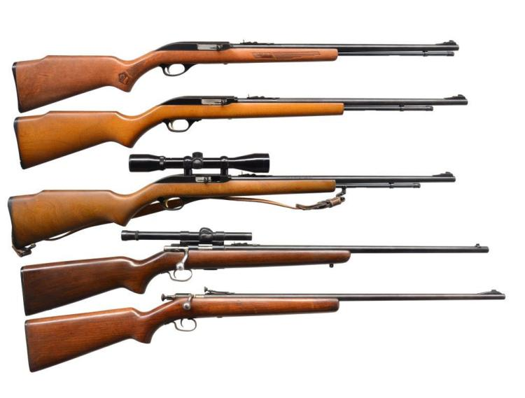 5 CAL. 22 RIFLES. MARLINS & WINCHESTERS.