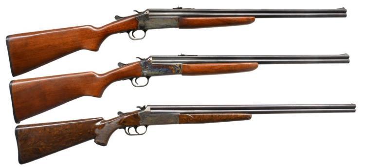 3 SAVAGE / STEVENS O/U HAMMER GUNS.