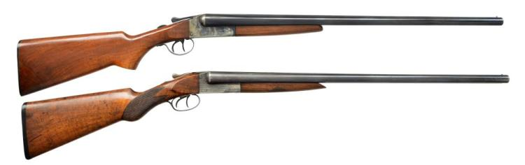 2 SXS SHOTGUNS BY WESTERN ARMS & HUNTER ARMS.