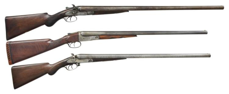 3 ANTIQUE SXS SHOTGUNS. 2 PARKER & 1 SCHOLEFIELD.