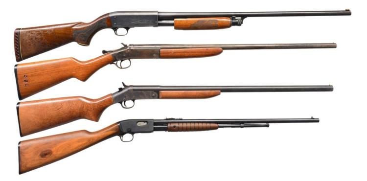 4 LONGARMS. ITHACA, IVER JOHNSON, NEW ENGLAND