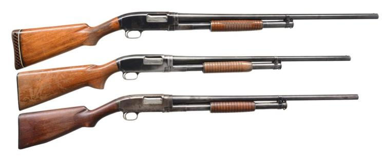 3 WINCHESTER MODEL 12 PUMP ACTION SHOTGUNS.