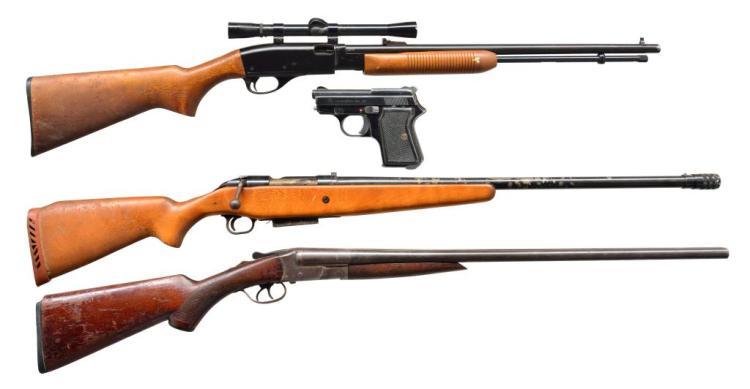 4 GUN LOT. FIE, REMINGTON, MOSSBERG, N.R. DAVIS