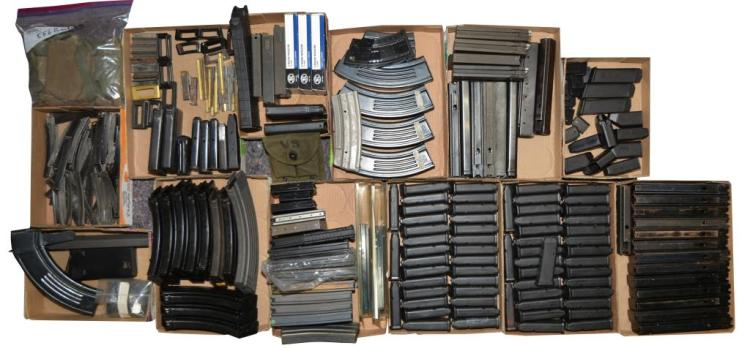 LOT OF MAGAZINES, STRIPPER CLIPS, ETC.