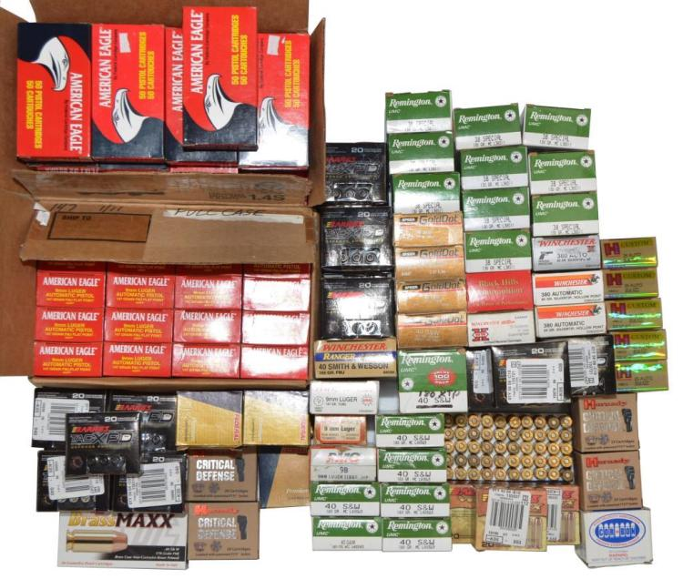 120+ BOXES OF VARIOUS PISTOL AMMO.