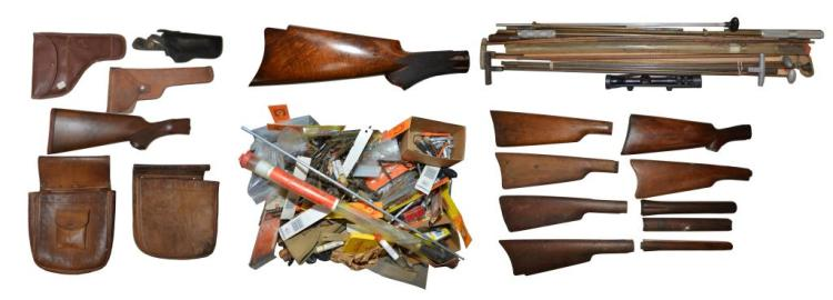 LARGE LOT OF GUN CLEANING SUPPLIES, HOLSTERS, BELT