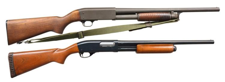 2 RIOT PUMP SHOTGUNS. ITHACA & REMINGTON.