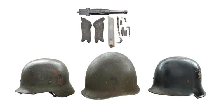 DWM PARTS KIT PLUS 3 WWII HELMETS.