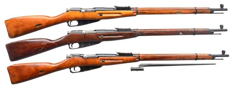 3 RUSSIAN MODEL 91/30 BOLT ACTION RIFLES.