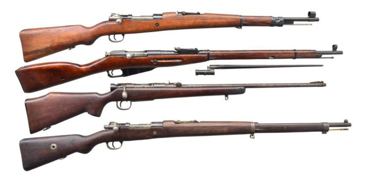 4 ASSORTED MILITARY BOLT ACTION RIFLES.