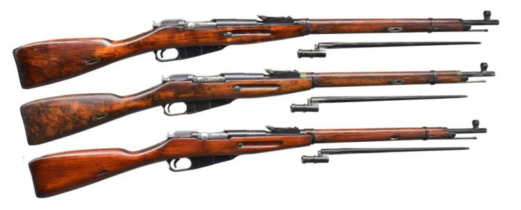 3 TULA MODEL 91/30 BOLT ACTION RIFLES.