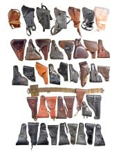 LOT OF 40+ HOLSTERS; MOSTLY US.