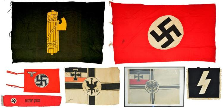 7 WWI & WWII GERMAN FLAGS, BANNERS & SASH.