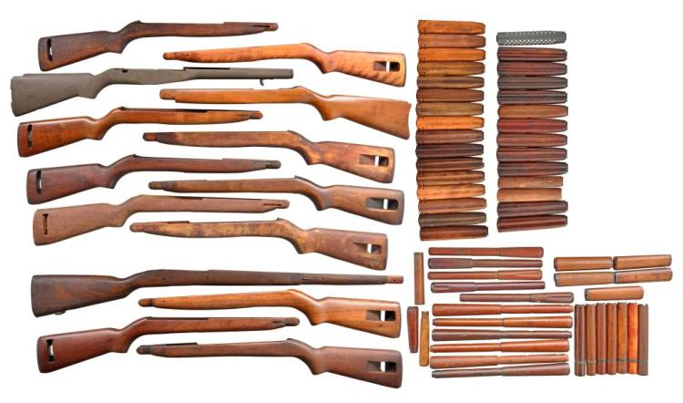 LOT OF MILITARY WOOD, STOCKS & HANDGUARDS; MOSTLY