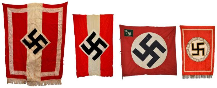4 WWII GERMAN FLAGS & BANNERS.