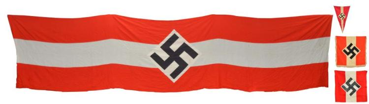4 WWII GERMAN HITLER YOUTH BANNERS & FLAGS.