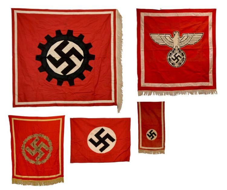 5 WWII GERMAN BANNERS & FLAG.