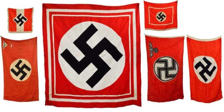 6 WWII GERMAN FLAGS & BANNERS.