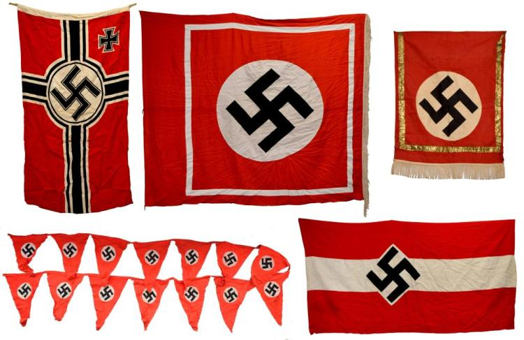 WWII GERMAN BANNERS, PENNANT STREAMER & FLAG.