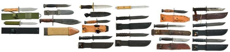 16 MILITARY & CIVILIAN FIGHTING & BELT KNIVES.