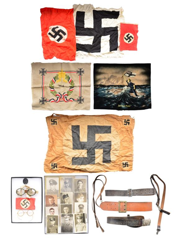 WWI & WWII GERMAN BELTS, FLAGS, POSTCARDS & MORE.