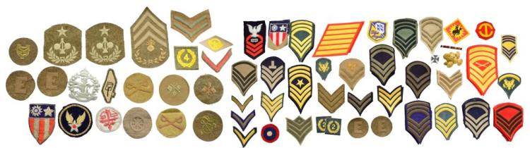 ASSORTED LOT OF US PATCHES & UNIFORMS WITH TRUNKS.