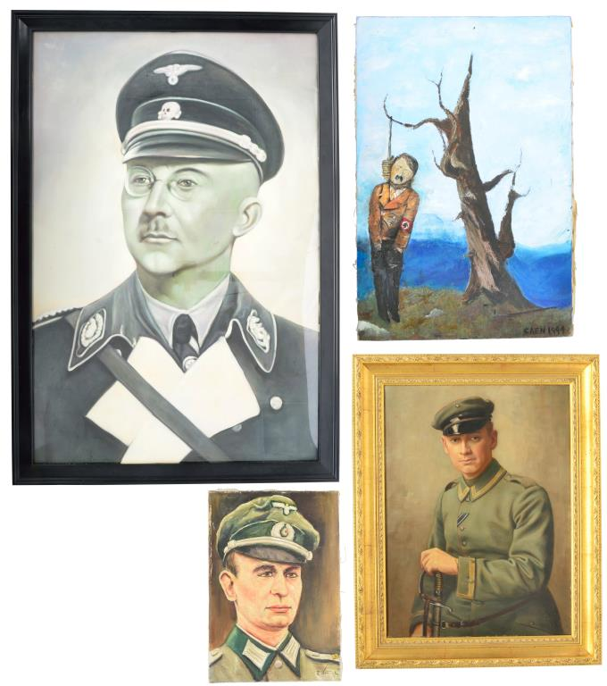 4 WWII GERMAN & RELATED OIL PAINTINGS.