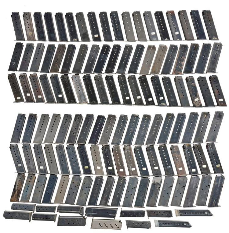 ASSORTED 90+ PISTOL MAGAZINES; MOSTLY P38 WWII