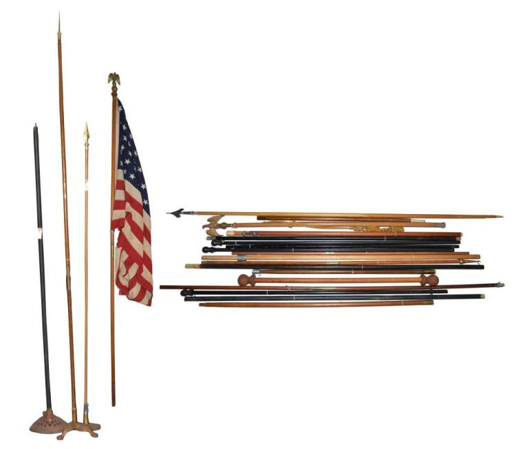 21 FLAG POLES & 48 STAR FLAG WITH POLE.