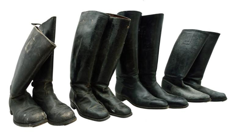 4 PAIRS OF WWII GERMAN STYLE JACKBOOTS.