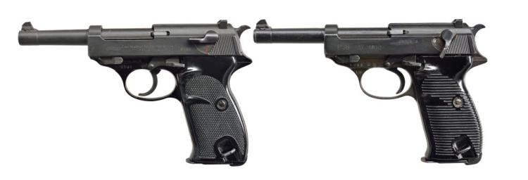 TWO 9MM LUGER SEMI AUTO PISTOLS. WALTHER & MAUSER.