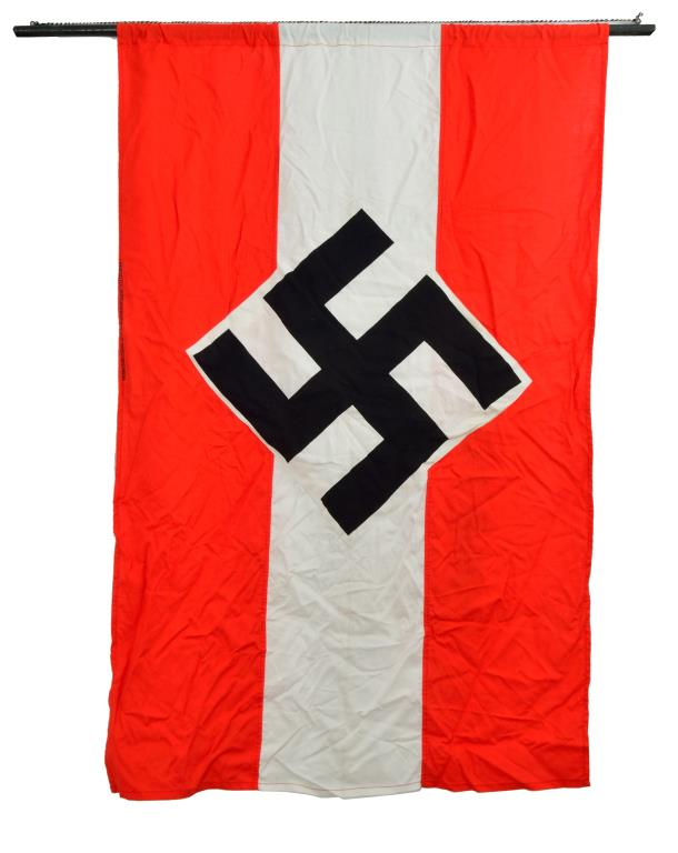 5 WWII GERMAN FLAGS, BANNERS & A TEXTILE.