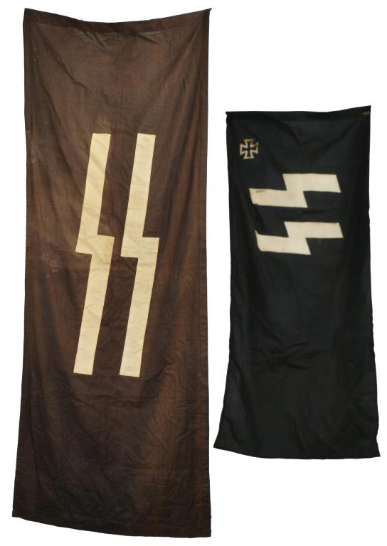WWII STYLE GERMAN SS BANNER & SS VETERANS FLAG.