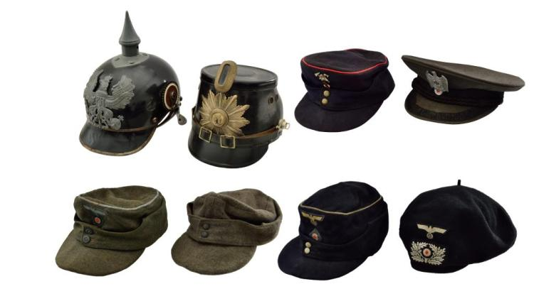 8 PIECES OF GERMAN HEADGEAR.